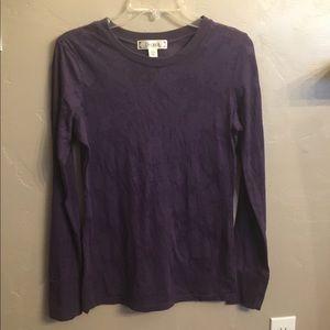 Long sleeve purple decree cuffed tee shirt